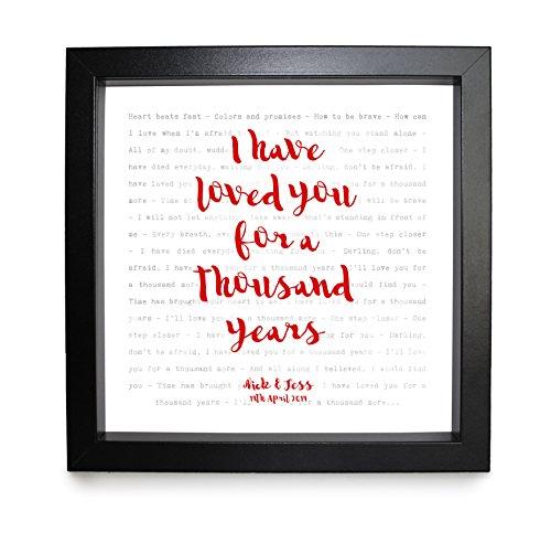 Christina Perri, Tausend Jahren (Twilight Soundtrack)–Songtext, gerahmt, & personalisierbar–Jahrestag Valentinstag Hochzeit Geschenk perfekt für sie, ihn, Paar