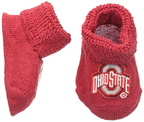 Two Feet Ahead NCAA Newborn Infant Booties with Gift Box, Ohio State Buckeyes, Solid