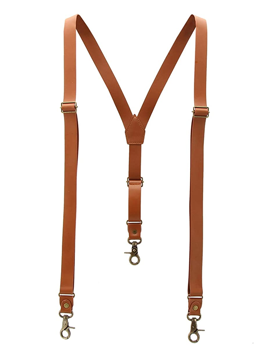 1 Inch Suspenders for Men, Soft Split Leather Brown Y Back, Covered with Superfine Fiber Synthetic PU Leather,3 Snap Hooks