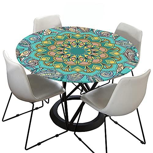 Morbuy Tischdecke Elastisch, 3D Mandala Rund Tischdecken Wasserdicht Lotuseffekt Abwaschbar Abwischbar Tischtuch für Dekoration Küchentisch Garten Outdoor (Türkis,120cm)