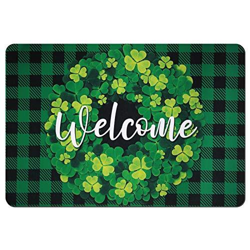 St Patrick#039s Day Doormat Lucky Shamrocks Printed Doormat Green Shamrocks Leaves Area Rugs Non Slip Rubber Entrance Bathroom Front Door Rug Irish Floor Welcome Mat for Indoor Outdoor 157 x 236 Inch