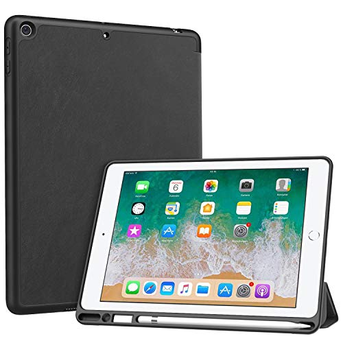 MoKo Funda para Apple iPad 9.7 2018, Cubierta Portátil Genuino Estuche Plegable con Ranuras para Tarjeta de Documento Smart Cover para Apple iPad 9.7