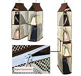 Staccabile 6 Scomparto Organizer Borsa Organizer per Armadio Trasparente Borsa Bag Collection Sistema armadi, Supporto di immagazzinaggio organizzatori per Soggiorno Camera da latto la casa Brown
