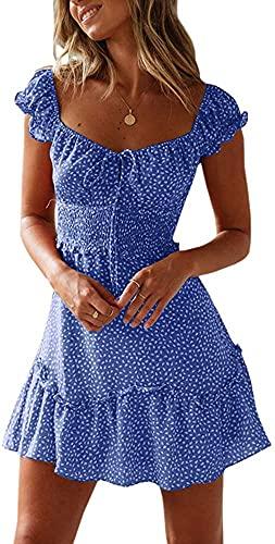Imily Bela - Vestido de mujer de verano con fruncido y estampado de lunares y flores. Con volantes y tirantes 2 azul M