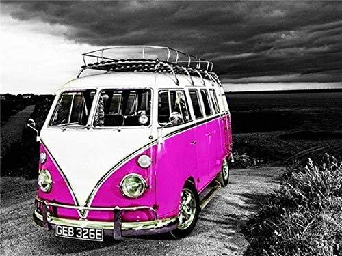 Hermoso coche autobús pintura al óleo por números imagen artística pintura acrílica dibujo sobre lienzo pintado a mano decoración del hogar A17 60x80cm