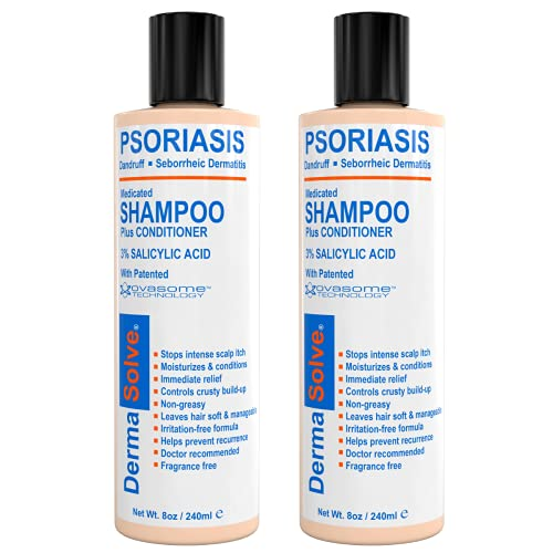 Scalp Psoriasis Shampoo & Conditioner (2-pack) Naturally Heals Dandruff Seborrheic Dermatitis Itchy Flakey Inflamed Skin and Provides Soothing Moisturizing Relief - two 8 oz bottles by DermaSolve