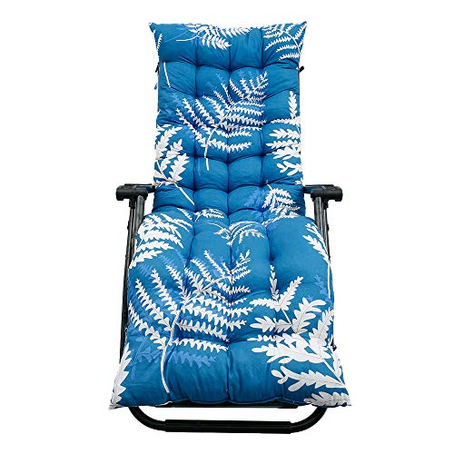 Sun Lounger Cushion Lounge Chair Pads 170x53cm Garden Recliner Cushions Replacement Thick High Back Chair Seat Pad With 6 Pair Straps Anti Slip (Green Leaves(No hood), 1 PACK)