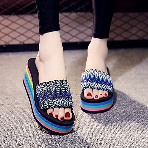 zapatillas de casa para mujer primavera,Zapatillas frescas de verano femenino, ropa de mujer gruesa de tacón alto de tacón alto, zapatos de playa, chalcohol, natación, baño, cámara, zapatillas de int