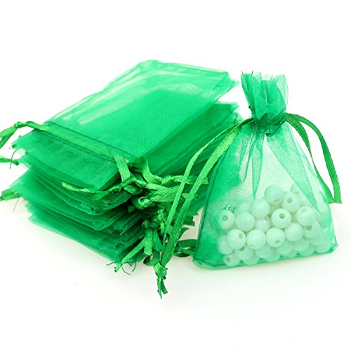 "AKStore 100Pcs 2.8""x3.6""(7x9cm)Sheer Drawstring Organza Jewelry Pouches Wedding Party Christmas Favor Gift Bags (Green)"