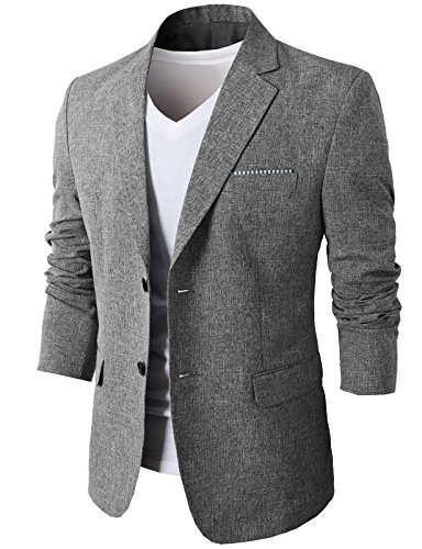 H2H Mens Fashionable Tow Buttons Closure Casual Business Suit Blazer Gray US L/Asia 3XL (KMOBL0107)