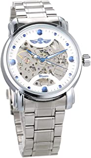 Men Luxury Business Automatic Mechanical Watch Fashion Stainless Steel Band Skeleton Wrist Watch