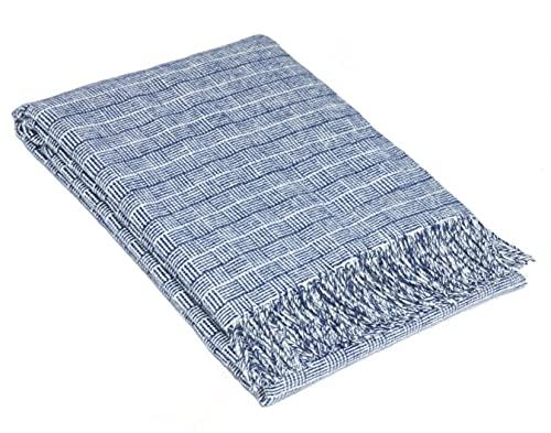 Nostra | Merino Wolldecke Merino-300 | 80prozent Merinowolle | Sofadecke| Warme & gemütliche Tagesdecke | Blau Decke | 140x200 cm