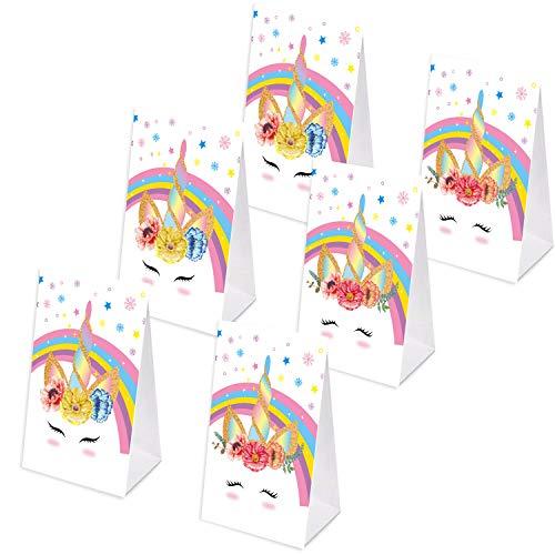 Baosu Paquete de 24 Sobres de Unicornio Bolsas de Dulces-Bolsas de Papel de Unicornio con Adhesivo 24 Piezas de Unicornio - Decoraciones de Fiesta de cumpleaños de Unicornio