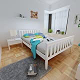 Panana White 4.6FT Double Bed Solid Wooden Bedroom Furniture Bed Frame
