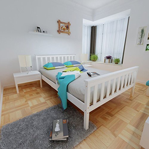 Panana Double Bed Frame,4FT6 Pine Wooden Double Bed base Bedroom Furniture For Adults, Kids Teenagers White
