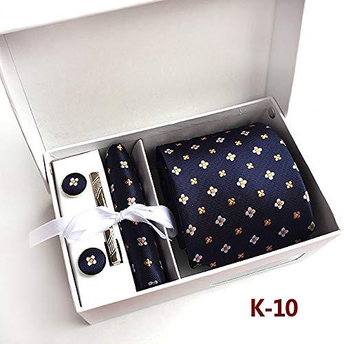 Heren stropdassen Box Set Business 8 cm brede stropdassen met zakdoek Manchette Gift
