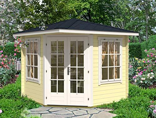 Alpholz 5-Eck Gartenhaus Sunny-C aus Massiv-Holz | Gerätehaus mit 28 mm Wandstärke | Garten Holzhaus mit Imprägnierung (pinie) | Geräteschuppen Größe: 250 x 250 cm | Spitzdach