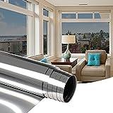 Oxdigi Pellicola autoadesiva per finestra, 75 x 300 cm, protezione dal calore, per finestre, protezione solare per balcone, protezione dai raggi UV, uffici, argento