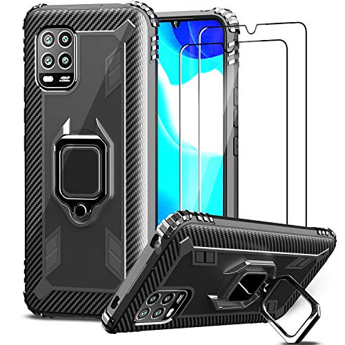 IMBZBK Kompatibel mit Xiaomi Mi 10 Lite 5G Hülle + [2 Stück] Xiaomi Mi 10 Lite 5G Panzerglas Schutzfolie, [360 Grad Drehung Fingerring Ständer] [Anti-Fall] Silikon weiches TPU-Gehäuse-Schwarz