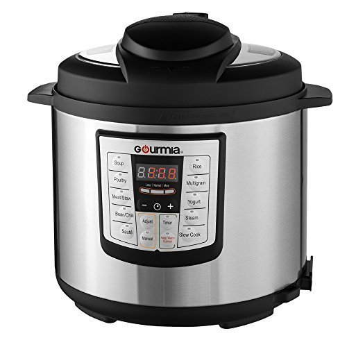 Gourmia GP600 Smartpot 8-in-1 Programmable MultiFunction Pressure Cooker Steamer Slow Cooker Cooking Pot, Stainless Steel, 6 quart, 1000W, Silver Free Recipe Book Included