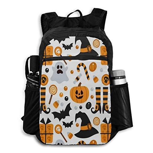 Laptop Backpack Vintage Happy Halloween Black And White Skulls (A) College Shoulder Backpacks Bag Bookbag Daypack