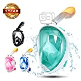 Full Face Surface Snorkel/Scuba/Diving Mask 180°View with Foldable Tube and Mount Compatible