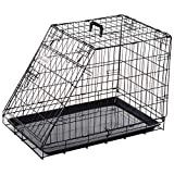 Pawhut Metal Collapsible Car Dog Cage Crate Transport Folding Box Carrier Handle Removable Tray 76 x 48 x 55cm