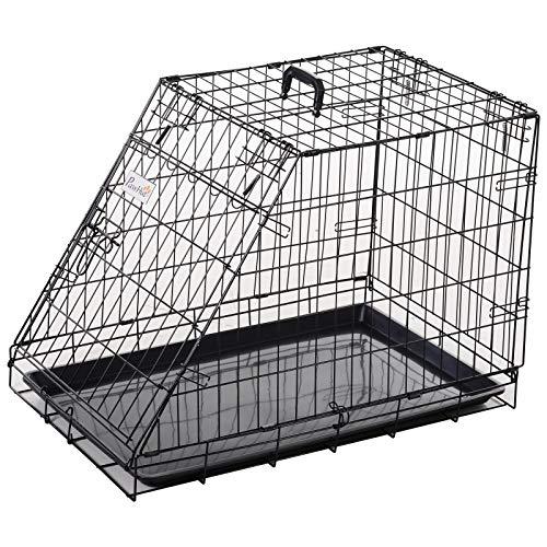Pawhut Trasportino per Cani in Metallo e PP, Gabbia per Cani a Trapezio per Auto con Maniglia, 76x48x55cm Nero
