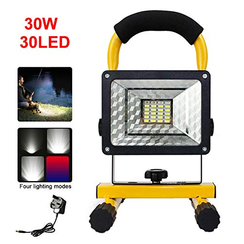 30W Rechargeable Floodlight, 30 LED Work Light Portable Work Lights Waterproof Outdoor Emergency Lights with Stand