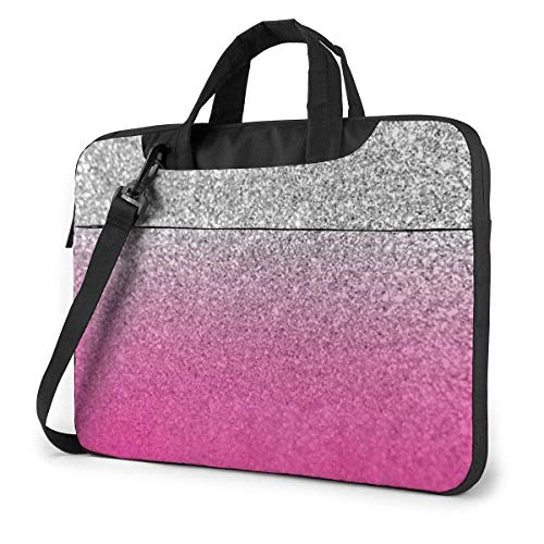 Glitter Silver Pink Laptop Bag Compatible With 13-15.6in Laptop Carrying Shoulder Handbag With Strap,