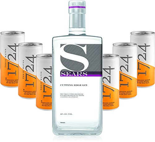 Gin Tonic Set - Sears Cutting Edge Gin 0,7l 700ml (44% Vol) + 6x 1724 Tonic Water 200ml Dosen inkl. Pfand EINWEG -[Enthält Sulfite]