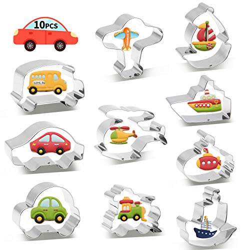 SYOSIN Verkehr Werkzeug Ausstechformen Kindern Baby Party Auto Plätzchenausstecher Set - 10 Stück Plätzchen Ausstecher aus Edelstahl Perfekt für Keks, Brot, Sandwiches, Käse