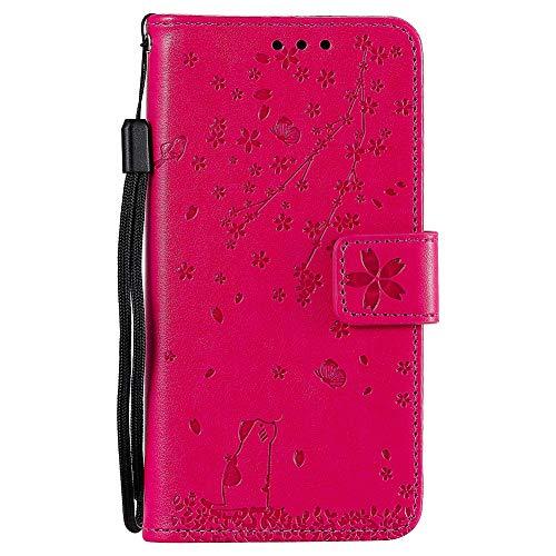 ZCXG Blume Hülle Kompatibel Mit Moto G6 Play/Moto E5 Hülle Rose Rot Handyhülle Leder Magnet Katze Hülle Silikon Schwarz Innere Tasche Brieftasche Damen Flip Cover Schutzhülle mit Kartenfach