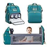 Nuliie mochila cambiador, cuna portátil para bebés y niños, bolsas impermeables para bebés con bolsillos aislados y puerto de carga USB para viajes de bebés, Verde Oscuro
