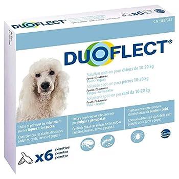 CEVA Duoflect 6 Pipettes de Solutions Anti Puces/Poux/Tiques pour Chien de 10-20 kg
