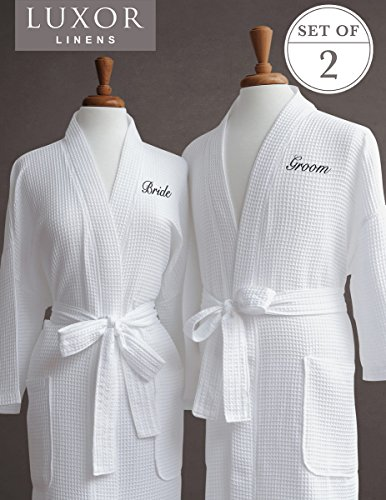 Luxor Linens Egyptian Cotton Waffle Weave Robe with Bride/Groom Couple's Embroidery, Black Monogram
