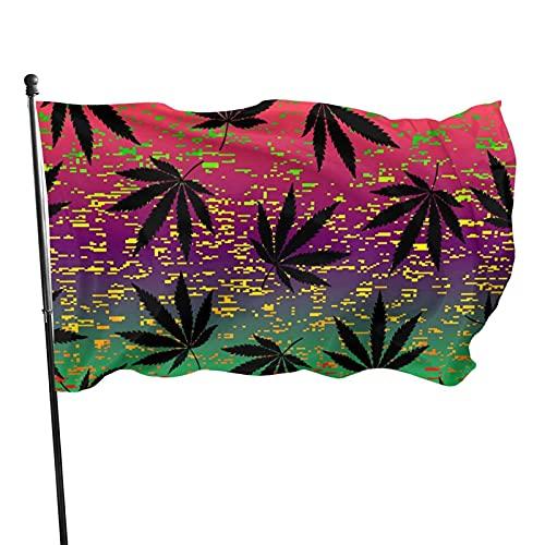 Bandera de Patio de jardín Rastafari Grunge Hojas de cáñamo UV Resistente a la decoloración Exterior Interior Bandera Bandera casa jardín decoración 90 x 150 cm