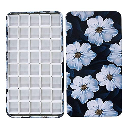 FCLUB Empty Watercolor Tin Palette, Small Travel Metal Paint Box with 40 Pcs Half Pans with Magnetic Strip