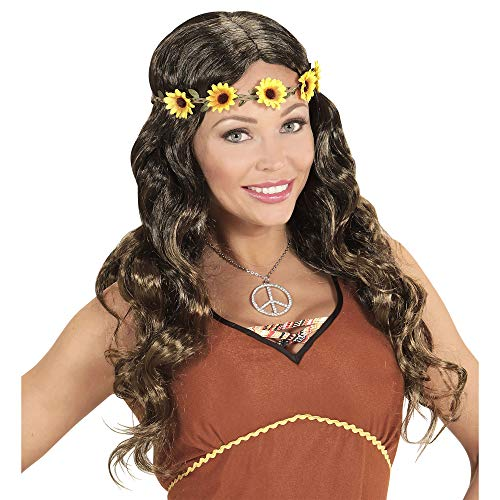 Widmann - pruik hippie of middeleeuwen met bloemenhoofdband