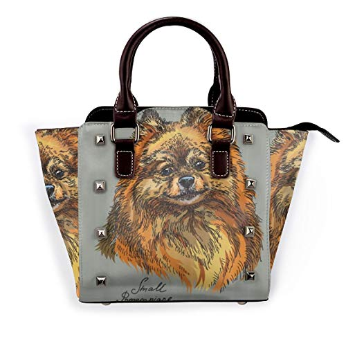 LONSANT Pomeranian Hand Drawn Style Sketchy Of A Purebred Domestic Puppy Detachable Fashion Trend Ladies Handbag Shoulder Bag Messenger Bags