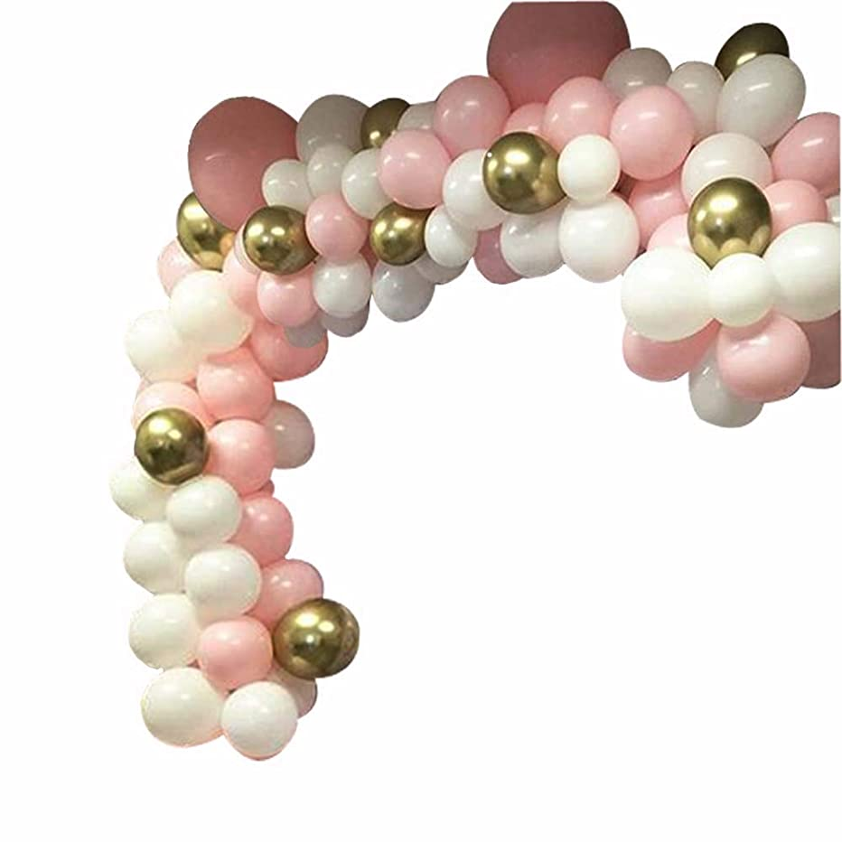 74 PacksDIY Balloons Garland Arch Kit with Pink, White and Gold Chrome Shiny Metallic Latex Balloons- Perferct for Wedding Party,Birthday Decorations,Bridal, Baby Shower, Engagement