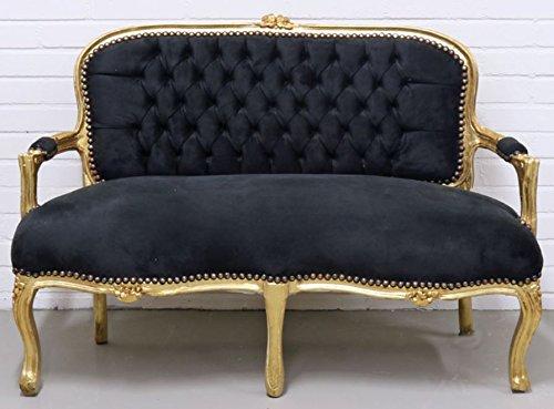 Casa Padrino Barock Kinder Sitzbank Schwarz/Gold 90 x 38 x H. 67 cm - Antik Stil Kindermöbel