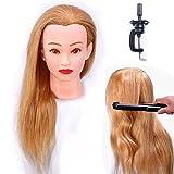 HAIREALM 100% Cheveux Naturels Blond Tête à coiffurer Formation Mannequin Tete d'exercise a coiffer + Titulaire EHA2718P
