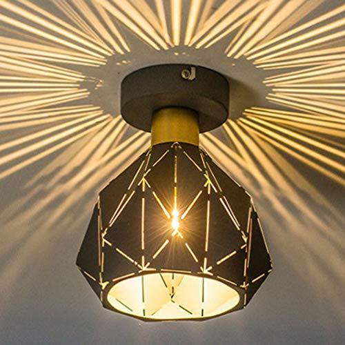 RONGJJ Drehbar Deckenlampe, Moderne Minimalistische Eisen Schlafzimmerlampe, Landhausleuchte Innenleuchte Flurlampe Balkon, Black, 25 * 23CM