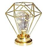 Metall Vintage Tischlampe,KINGCOO Diamant Geometrie Kupfer Lampe Schreibtisch Nachttischlampe Batteriebetrieben Dekoration Licht für Schlafzimmer Wohnzimmer Arbeitszimmer (Gold)