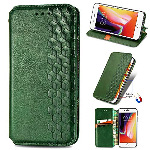 Miagon iPhone 6 Plus/6S Plus Mode Hülle,Retro PU Leder Flip Brieftasche Abdeckung Magnetverschluss Folio Ständer Kartensteckplätze Handyhülle,Grün
