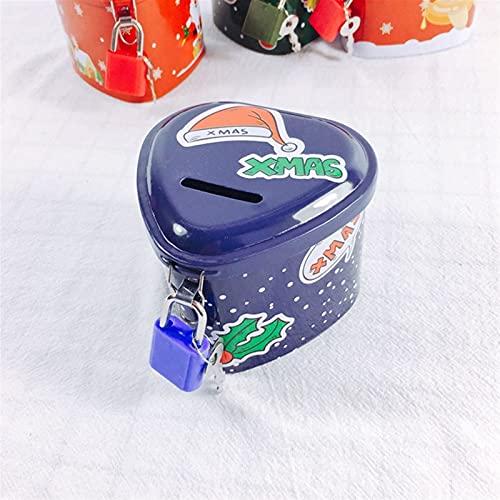 WWWL Hucha Caja de Almacenamiento de Monedas de la Presente Monedas de Navidad Caja de Dinero Redonda con Llave de Bloqueo de Metal Caja de Almacenamiento de Dibujos Animados Regalo de cumpleaños
