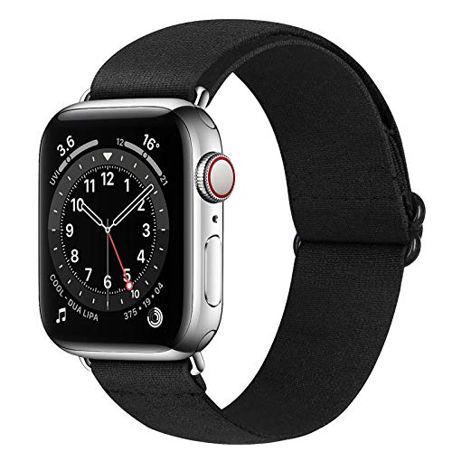 Runostrich Nylon Elastic Watch Band Compatible for Apple Watch 40mm 38mm, Stretchy Adjustable Sport Loop Replacement Strap for iwatch Series 1/2/3/4/5/6/SE (Black White Grid, 38mm/40mm)
