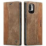 KONEE Hülle Kompatibel mit Xiaomi Redmi Note 10 5G / Poco M3 Pro 5G, Lederhülle PU Leder Flip Tasche Klappbar Handyhülle mit [Kartenfächer], Schutzhülle für Xiaomi Poco M3 Pro 5G - Braun