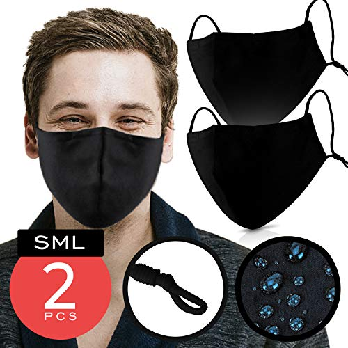 Black Cotton Mouth Cover – Pack of 2 - FITS ALL ADULTS – Waterproof & Coated with Swiss AG Nano Tech on USA Satin Cotton with Nose Bridge, Adjustable Strap , Washable & Reusable 40x for both Men & Women